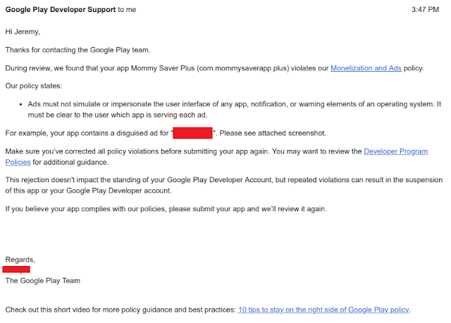 """Appeal Rejected: Google Removed (ad-free) Mommy Saver Plus for """"Deceptive Ads"""""""